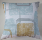 "Cushion Cover in Next Teal Square Geo 16"" Matches Curtains"